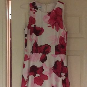 Donna Morgan White dress with Pink floral design.